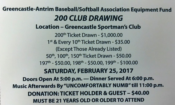 GABSA 200 Club Drawing Tickets Still Available!